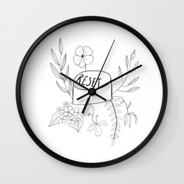 Floral Reset Button Wall Clock