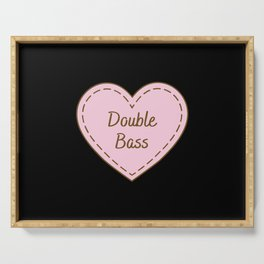 I Love Double bass Simple Heart Design Serving Tray