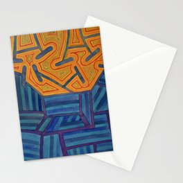 Blue Striped Segments combined with Orange Area Stationery Cards