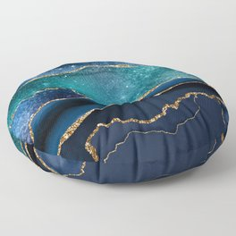 Blue Night Galaxy Marble Floor Pillow