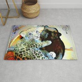 Big Cat Companions: Leopard & Black Panther Cubs 01-02 Rug