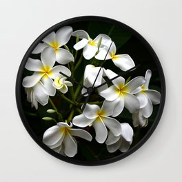 Tropical Island Fine Art Plumeria Flowers Wall Clock