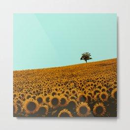 Sunflowers in green Metal Print