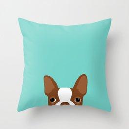Red Boston Terrier Throw Pillow