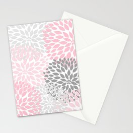 Pink Gray Dahlia Floral Stationery Cards