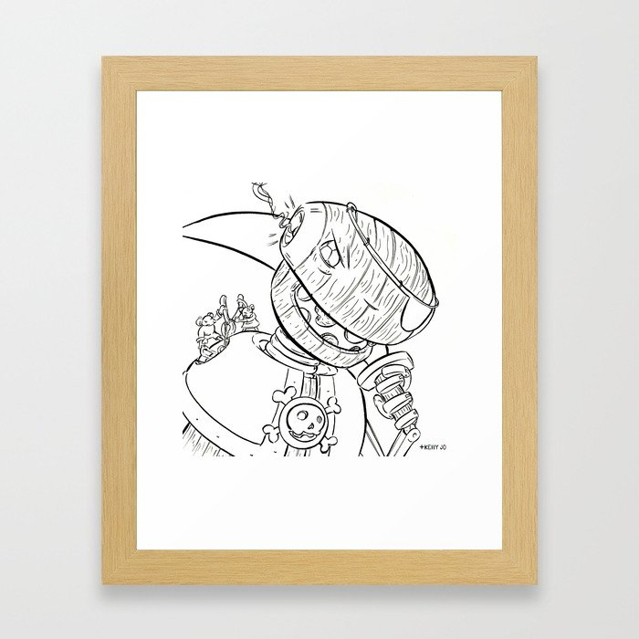 Robot Pirate - ink Framed Art Print
