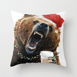 Grizzly Mornings Christmas Throw Pillow