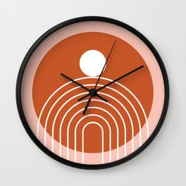 Mid Century Modern Geometric 39 in Terracotta Rose Gold (Rainbow Sun Abstraction) Wall Clock