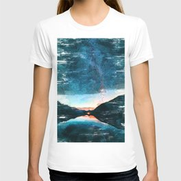 Milkyway Galaxy Lake Reflection Space Antholz Italy. For Space & Astronomy Lovers. T-shirt