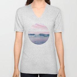 Pacific Dreamscape - Ocean Waves Pink + Blue Unisex V-Neck