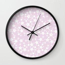 Block Print Mauve Pink and White Stars Pattern Wall Clock