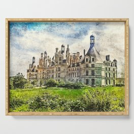Medieval Chateau de Chambord in Loire Valley in France. Serving Tray