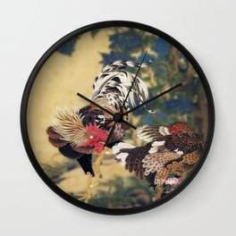 Rooster and Hen with Hydrangeas. Wall Clock