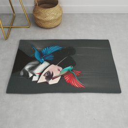 Surreal portrait girl with mask and tropical birds  Rug
