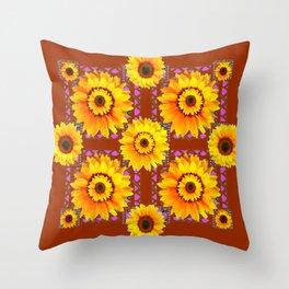 CINNAMON COLOR YELLOW SUNFLOWERS ART Throw Pillow