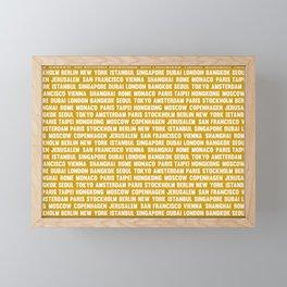 Famous City pattern Oger Yellow & White Framed Mini Art Print