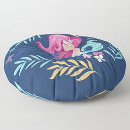 Pretty mermaid design with flowers. Floor Pillow