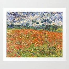 Poppy Field by Vincent van Gogh, 1890 painting Art Print