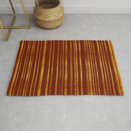 Golden and Terracotta Color Stripes Pattern Rug