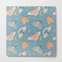 Moth & Moons Pattern - Dusty Teal Blue Metal Print