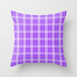 Bright Neon Purple White Tartan Plaid Check Throw Pillow