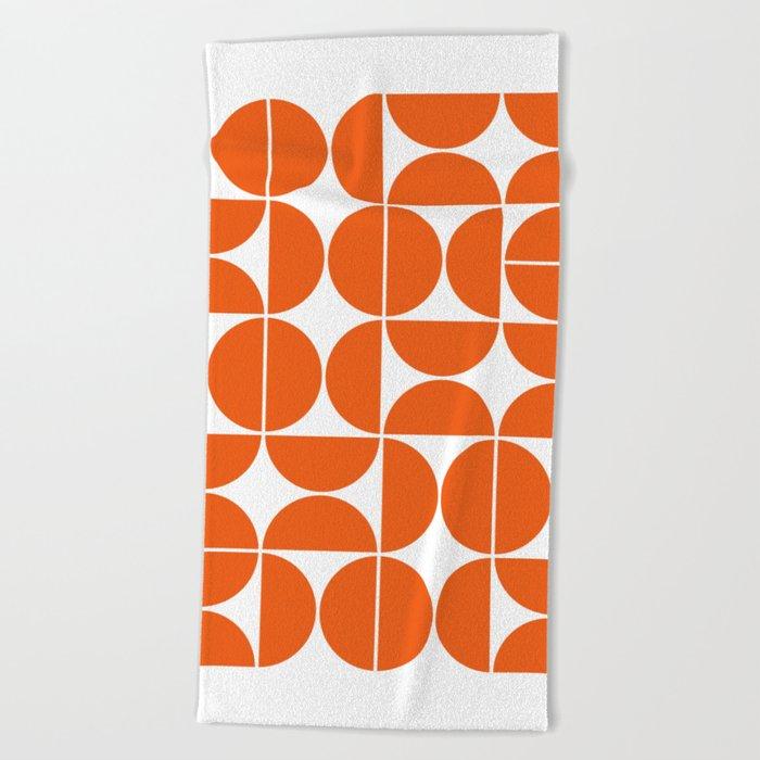 Mid Century Modern Geometric 04 Orange Beach Towel