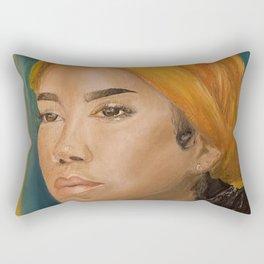 Jhen,singer,soul,portrait,original,oil painting,chilombo,small,poster,print,art,artwork,woman,decor Rectangular Pillow