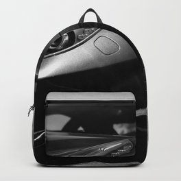 Super Car // Front Wheel Base Low Rims Dark Charcol Gray Black and White Backpack