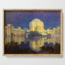 San Francisco Palace of the Fine Arts Temple and Lagoon landscape painting by Colin Campbell Cooper  Serving Tray