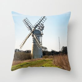 White windmill on the Norfolk Broads Throw Pillow