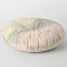Vintage Map of The Eastern Mediterranean Ports (1905) Floor Pillow