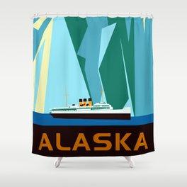 Alaska Taku Glacier retro vintage style travel Shower Curtain