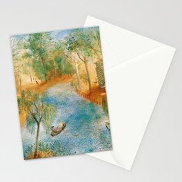 Idyllic Paradise, Two Streams Converging )Río Bravo del Norte) landscape painting by O. Sachoroff Stationery Cards