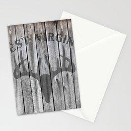 West Virginia Deer Antlers Hunter Barn Wall Wood Rustic WV Stationery Cards