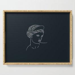 Aphrodite Minimalism Line Art - Dark Academia Inspired Serving Tray
