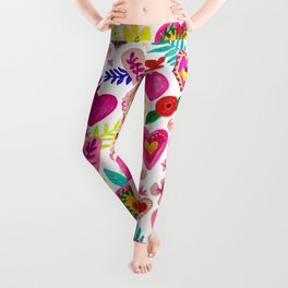 Colorful Hearts pattern Leggings