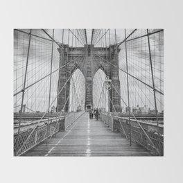 Brooklyn Bridge, New York City (rustic black & white) Throw Blanket