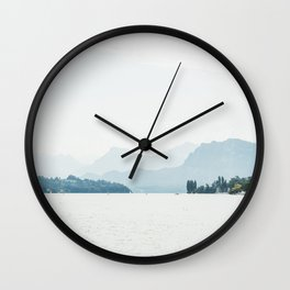 Bright Haze Mountains - Switzerland Alps - Lake Luzern  Wall Clock