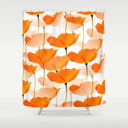 Orange Poppies On A White Background #decor #society6 #buyart Shower Curtain