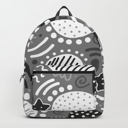 Wild Shapes Abstract - Black, White, Grey Backpack