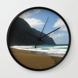 Empty Beach of Kalaupapa Wall Clock