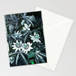 Dark Teal Temple of Flora Blue Passion Flowers Stationery Cards