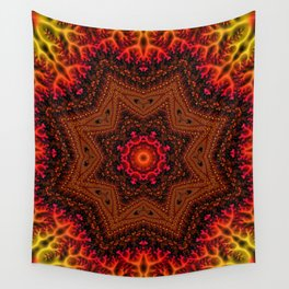 Fiery Fractal Mandala 2 Wall Tapestry