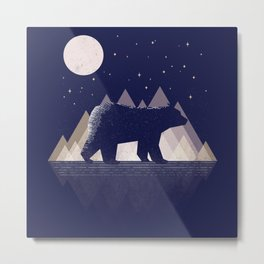 Moon Bear - Geometric, bear shirt, stars, mountains, animal t shirt, animal print t shirt, wildlife Metal Print