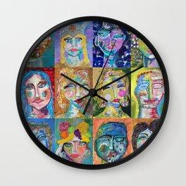 Twelve Intriguing Faces - Modern Art Abstra Wall Clock
