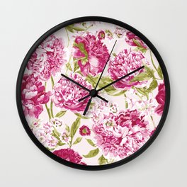 Peonies in Pink Wall Clock
