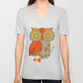 Abstract Colorful Floral Owl, Cute Owl Sticker, Terracotta Colors, Orange Yellow Gray And  Brown Unisex V-Neck