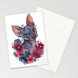Neo Traditional Sphynx cat and flowers Stationery Cards
