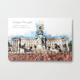 Buckingham Palace, London, Aquarell Metal Print