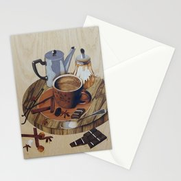Coffee still life wood marquetry picture Stationery Cards